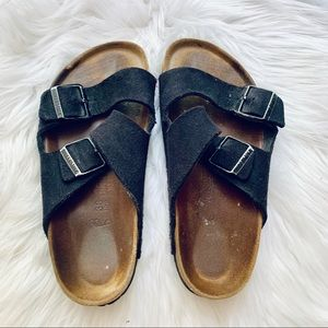 Birkenstock Black Two-Strap Sandals Wonen 7 Mens 5